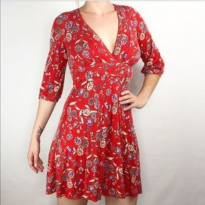 Free People | 1/2 sleeves floral mini red dress